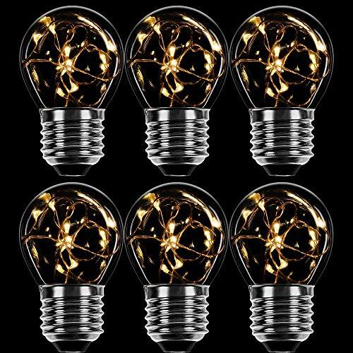 6 x LED Deko Leuchtmittel Kupferkabel Tropfen 1W = 7W E27 klar extra warmweiß 2200K