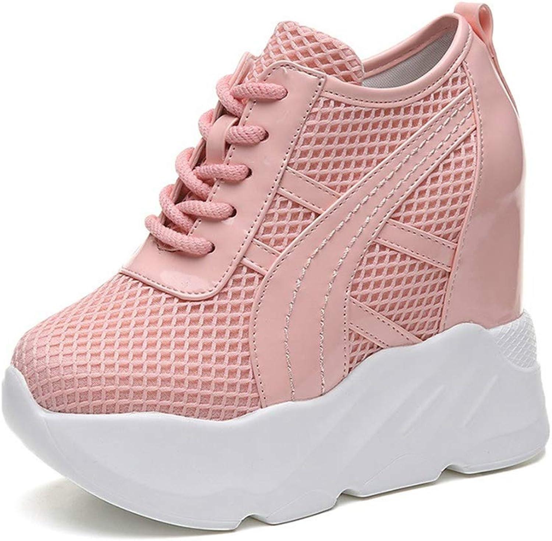 Woman Platform Hidden Heel Height Increasing Wedges shoes Female Mesh Breathable Casual Sneakers