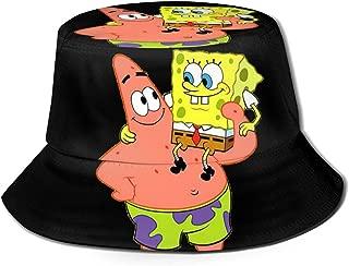 Bucket Hat Unisex Spongebob and Patrick Star Sun Hat Printed Fisherman Packable Summer Travel Hat Fashion Outdoor Hat Black