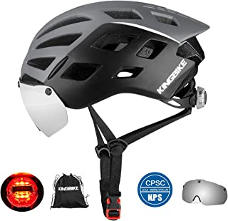 KINGBIKE DOT Bicycle Helmet CPSC Certified Detachable Eye Shield Goggles(Silver Mirror Tint,100% UV400 Protection,Can Over The Glasses) + Helmet Backpack Men Women,Safety LED Light