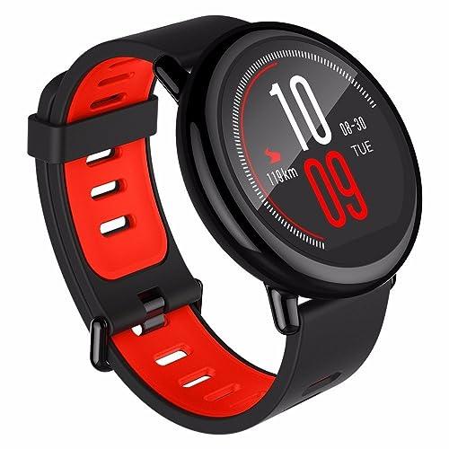 Moniteur de fréquence Cardiaque, GPS Smartwatch Amazfit Bluetooth WiFi Dual 512Mo/4Go pour iOS Xiaomi Huami (Version Anglaise) Rouge/Noir par Gshopper®