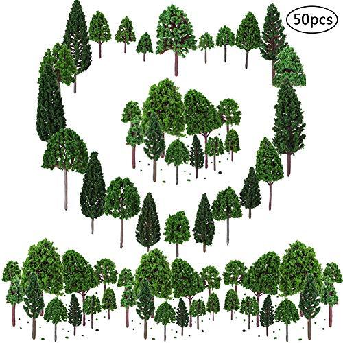 BESTZY 50pcs Gemischtes Bäume Modellbau(28-40mm) Mixed Modell Baum Zug Bäume Eisenbahn Landschaft Diorama Baum Architektur Bäume für DIY Landschaft Natürliche Grün(Nur Baum)