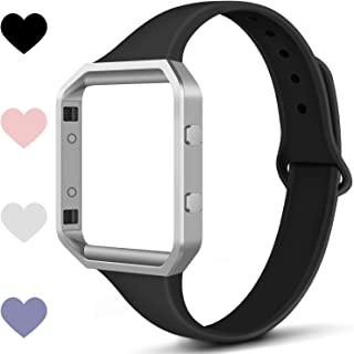 TreasureMax Compatible with Fitbit Blaze Bands for Women/Men,Soft Silicone Thin Narrow Replacement Slim Bands with Metal Frame for Fitbit Blaze.