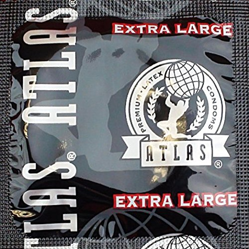 Atlas Extra Large with Silver Lunamax Pocket Case, Premium Lubricated Latex Condoms-24 Count