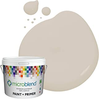 Microblend Interior Paint and Primer - Beige/Aged Linen, Flat Sheen, 1-Gallon, Premium Quality, One Coat Hide, Low VOC, Washable, Microblend Sierras Collection