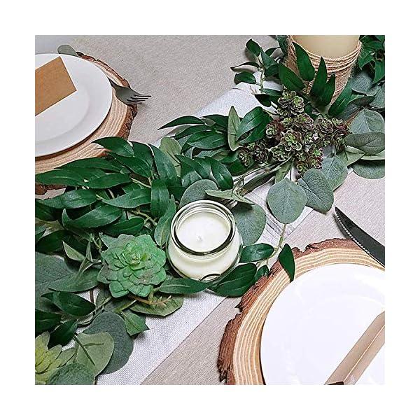 5.9″ Blended Faux Silver Dollar Eucalyptus y Willow Vines Ramitas Hojas Guirnalda Cuerda Boda Swag Telón de fondo Guirnalda Puertas Verdor Guirnalda Mesa Corredor Garland Interior Exterior (verde)