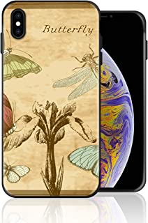 Silicone Case for iPhone 6s and iPhone 6, Butterfly Dragonfly Postcard Pamphlet Design Printed Phone Case Full Body Protection Shockproof Anti-Scratch Drop Protection Cover