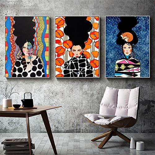 KWzEQ Arte de la Pared Lienzo Figura Pintura Hermosa Mujer Flor Sala de Estar Cuadro de Pared decoración del hogar,60x80cmx3,Pintura sin Marco