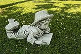 CATART Figura Decorativa de niño Leyendo en hormigón-Piedra para el jardín Exterior 30X53X33cm.