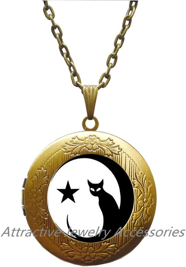 Cat Locket Pendant, Cat Locket Necklace, Cat Jewelry,Glass Charm Locket Necklace,Cat Jewelry,gift for cat lover, gift for her,QK174