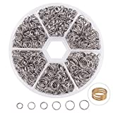 PandaHall Elite 1120 Pcs 4 Sizes 304 Stainless Steel Split Rings, 5/6/7/8mm Double Loop Jump Ring Key Ring for Jewelry Making