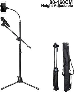 Soporte ajustable para micrófono, trípode para micrófono y soporte para micrófono, giro ajustable de 360°, con bolsa de transporte para selfie, grabación, webcast, 80 -160 cm, color negro