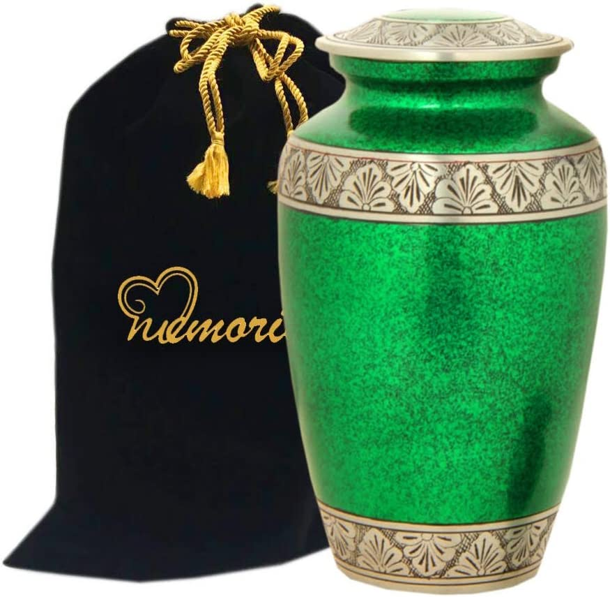 MEMORIALS Max 53% OFF 4U Dallas Mall Royal Green with - Cremation Urn Pewter Band
