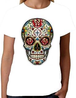 Velocitee Ladies Long Sleeve T-Shirt Pretty Tattoo Skulls Dia Los Muertos W17034