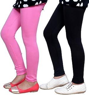Indistar Big Girls' Super Soft Cotton Leggings (Set of -2)