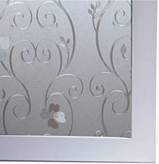 Bloss 3D Static Cling Window Film Decorative Iron Flower Window Covering Film for Home, Office 17.7inch x 78.7 inch, 1 Roll
