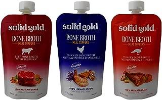 Solid Gold Human Grade Bone Broth Dog Food Meal Toppers 3 Flavor Sampler Bundle, 1 Each: Beef, Chicken, Turkey (8 Ounces)
