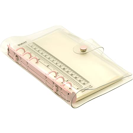 TSUKURIRO カラー リング システム手帳 6穴 バインダー リフィル ファスナークリアポケット 無地ノート 付き セット (ライトピンク, B6 バイブルサイズ)