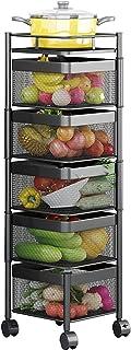 WXking Panier de cuisine avec roues, étagère de coin en métal à 5 niveaux pour organisateur de rack d'épice, 5 racks de ...
