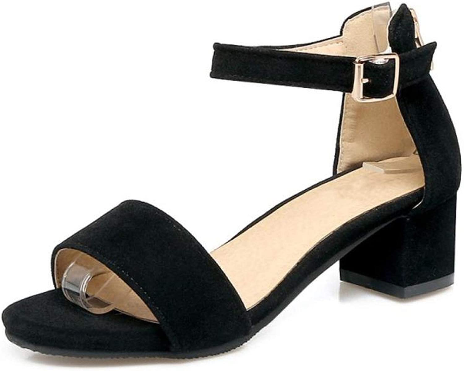 Fairly shoes Mid Heels Buckle Simply Summer shoes Fashion Casual Party Sexy shoes,Black,11.5