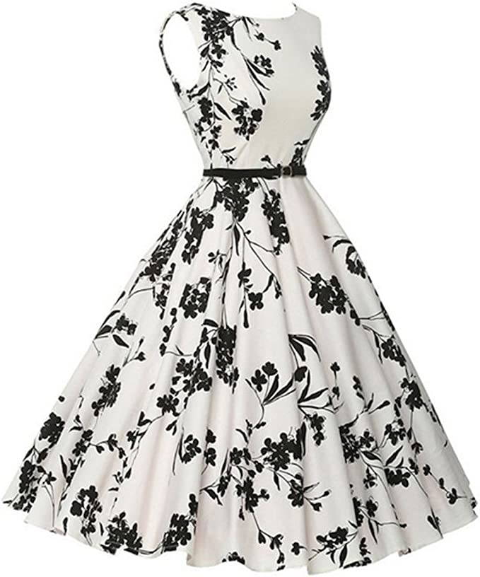50er Jahre Rockabilly Kleid Vintage 50s Sommerkleid Weiss Mit Schwarzen Blumen Grosse 44 Amazon De Bekleidung