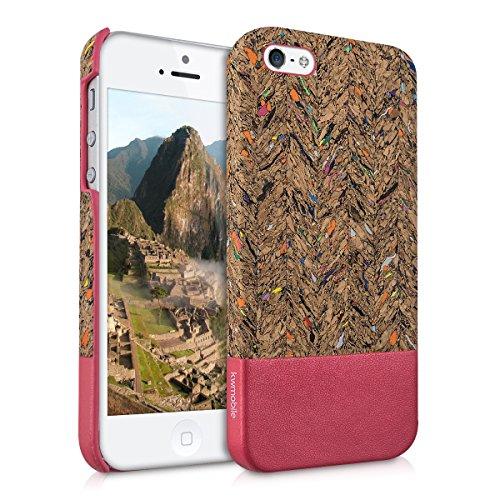 kwmobile Hardcase Hülle kompatibel mit Apple iPhone SE (1.Gen 2016) / 5 / 5S - Kork Backcover Case Schutzhülle Cover Recycle Wellen Fläche Mehrfarbig Pink Hellbraun