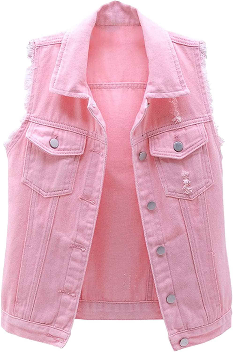MAYW Women's Denim Waistcoat Jacket Ripped Tops Candy Color Sleeveless Distressed Denim Jean Vest Jacket with Pockets