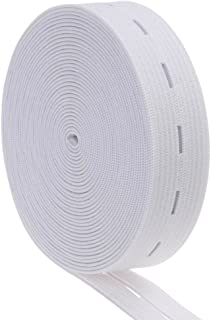 5Pcs Button Hole Elastic Woven White 20mm Standard Wide
