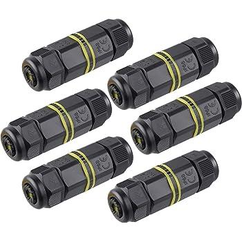 Chestele - Conector de cable, uso exterior, caja de conectores impermeables, IP68, acoplador de manguito exterior, 5 mm a 12 mm de diámetro (negro, PA66), negro: Amazon.es: Bricolaje y herramientas