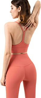 Kissprom Strappy Padded Wire Free Sport Bra for Women with Y Racer Back Supportive Yoga Bra Crop Tank Top