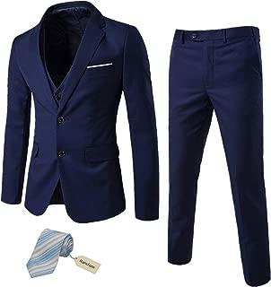 Men's 3 Piece Suit Notch Lapel 2 Button Blazer Slim Fit Dress Business Wedding Party Jacket Vest Pants & Tie Set