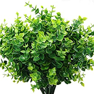 Silk Flower Arrangements Kimura's Cabin Fake Flowers Artificial Greenery Boxwood Plants Outdoo UV Resistant Shrubs 4Pcs for Home Wedding Party Decoration