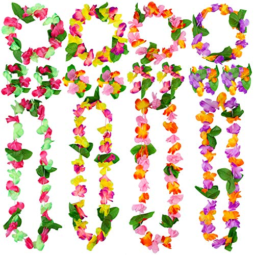 Cooraby 16 Pieces Hawaiian Garlands Bulk Silk Flower Leis Banner 8 Bracelets 4 Headbands and 4 Necklaces for Luau Party Decorations