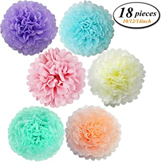 18 Pcs Assorted Rainbow Colors Tissue Paper Pom Poms Flower Balls for Birthday Wedding Party Baby Shower Decorations ((Unicorn Pastel)