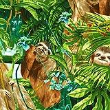 Timeless Treasures Jungle Stoff–Sloths Jungle 100%