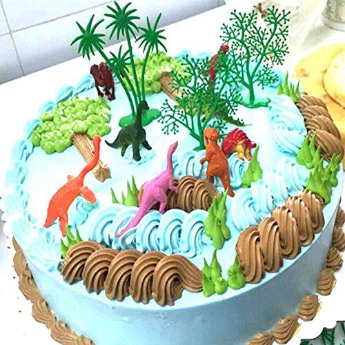display08 16-teiliges Set lustige Dschungel-Dinosaurier-Kuchendekorationen für Kindergeburtstag, Party-Dekoration mehrfarbig