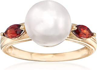 Ross-Simons 9.5-10mm Cultured Pearl and .60 ct. t.w. Garnet Ring in 14kt Yellow Gold