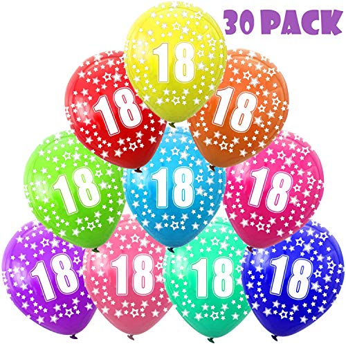 Funny House 30 Pcs Kunterbunte Luftballons 18 Jahre Metallic Deko zum 18. Geburtstag, 18. Jubiläum Hochzeit Party Kindergeburtstag Happy Birthday Dekoration