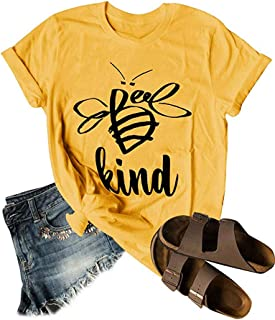 Womens Cute Bee Kind T Shirts Summer Short Sleeve Cotton Top Graphic Tee