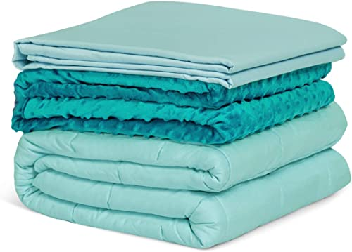 """discount Giantex Weighted Blanket with Duvet Covers, Hot lowest and Cold Duvet Cover Set, 60 """" x 80""""   20lbs, Cozy Heavy Blanket with Premium Glass Beads, Weighted Blanket for Hot and Cold outlet online sale Sleepers (Green ) outlet online sale"""