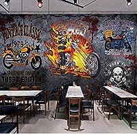 Bosakp 3Dストリートグラフィティオートバイスカルポスター壁画レストランカフェバー壁画背景写真壁紙 100X50Cm