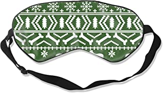 Pitbull Fair Isle Christmas Dog Silhouette Med Gre 100% Silk Sleep Mask Comfortable Non-Toxic, Odorless and Harmless,Soft Blindfold Eye Mask Good for Travel and Sleep