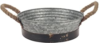 Stonebriar Round Galvanized Metal Serving Tray with Rust Trim and Rope Handles, Rustic Home Decor Accessories, Gift Idea for Housewarming, Birthdays, and Christmas