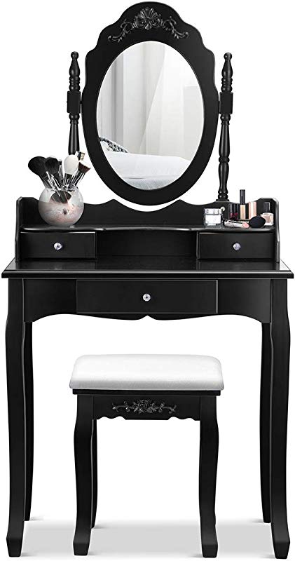 Giantex Vanity Table Set With Mirror And Stool For Bedroom Modern Wood Style Cushioned Bench Oval Mirrored Multifunctional Top Removable Writing Desk Dressing Tables For Girls 3 Drawers Black