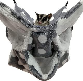WOWOWMEOW Small Animal Cage Hanging Bunkbed Hammock Warm Fleece Bed for Sugar Glider Ferret Squirrel