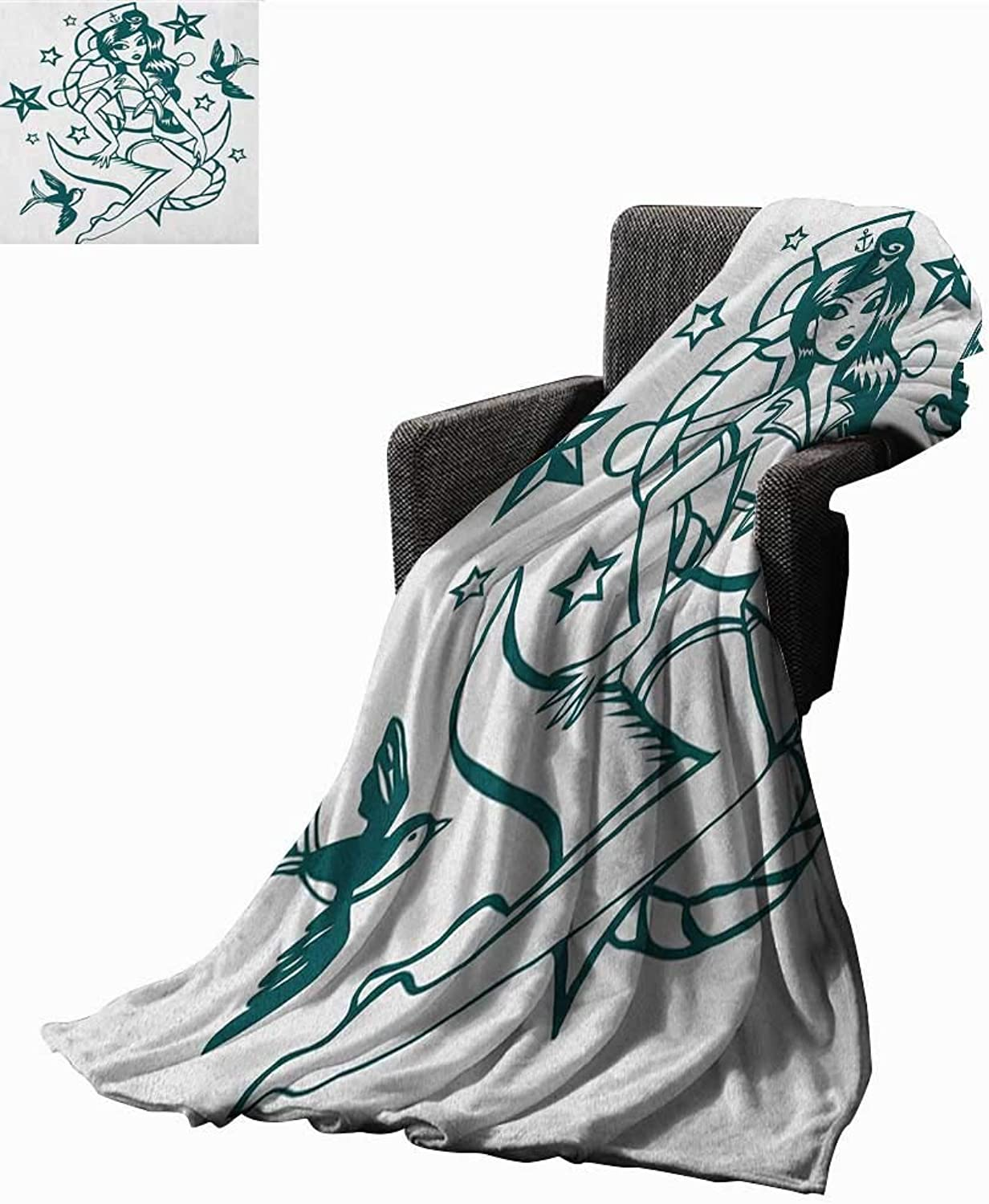 ScottDecor Bed or Couch 60  x 50 Anchor Digital Printing Blanket Pin up Girl Nautical Sailor Suit Surrounded by Swallow Birds Stars Hand Drawn Print Digital Printing Blanket Dark bluee White