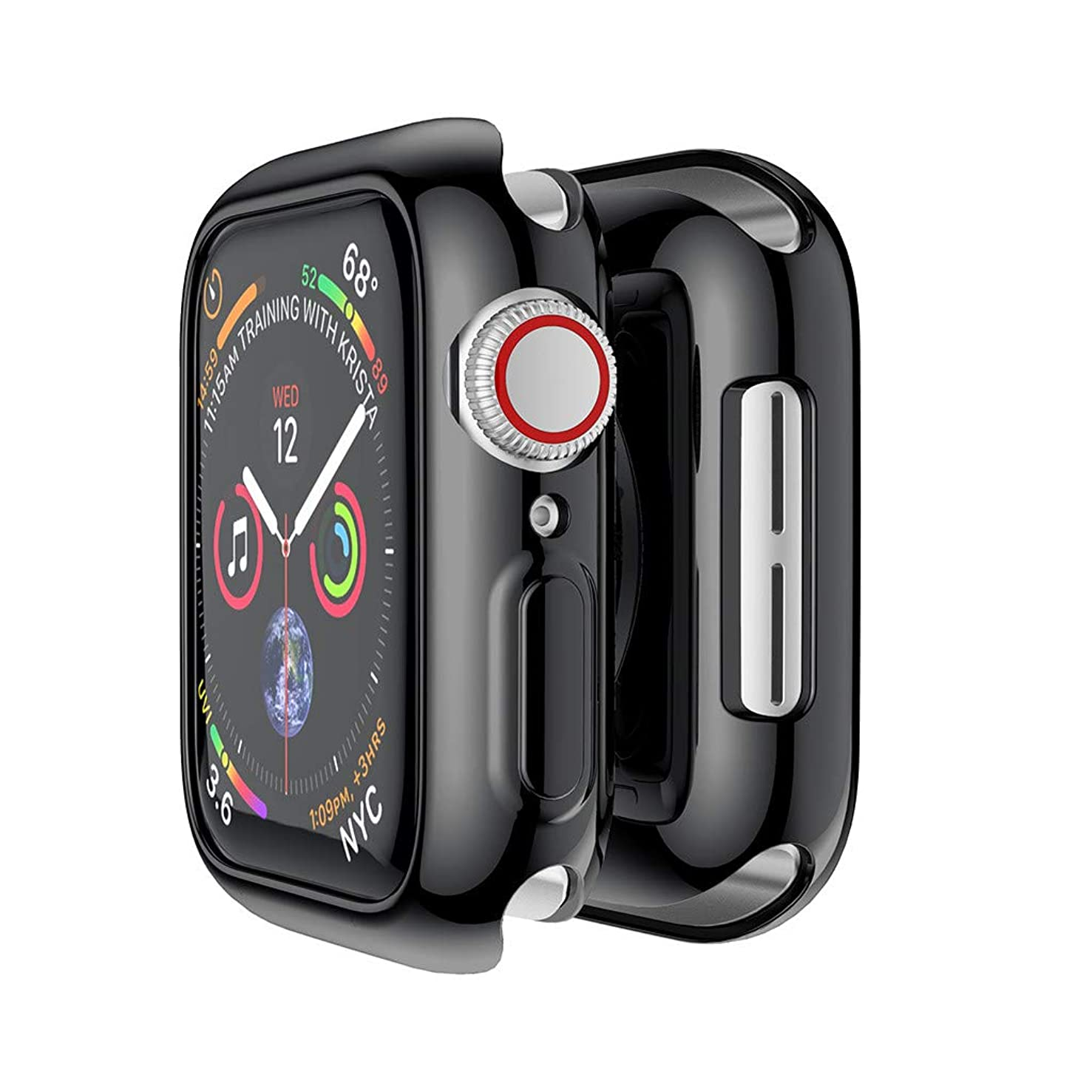 Cywulin Compatible with Apple Watch Case 40mm 44mm, 2018 New iWatch Series 4 Ultra Thin Rugged Armor TPU Bumper Protective All-Around Shock Proof Flexible Protector Replacement Cover (44mm, Black)