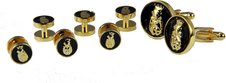 Shrine & Mason Products 4031834 Roj Tuxedo Stud Cufflinks Set Jester Biliken Royal Order of Jesters Billiken Cuff Link Mirth is Kings
