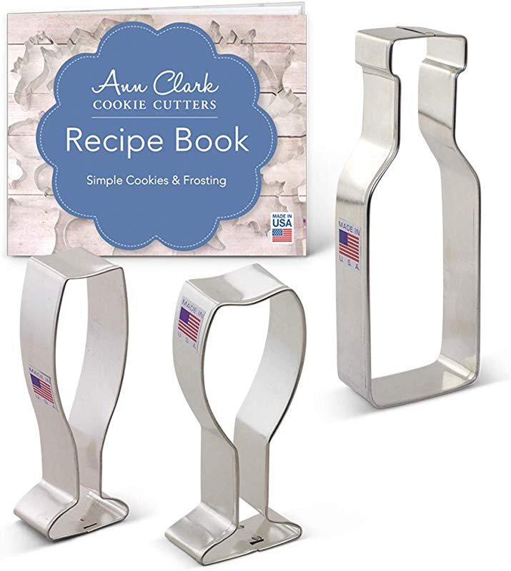 Ann Clark Cookie Cutters 3 Piece Wine And Champagne Celebration Cookie Cutter Set With Recipe Booklet Wine Glass Champagne Glass Bottle