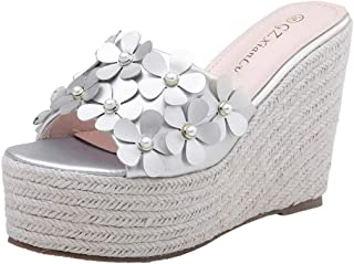Donsi Women Wedge Sandals Slippers Elegant Summer Romantic Platform Wedding Sandals Wedge Flower Slippers Dress Mules Open Toe